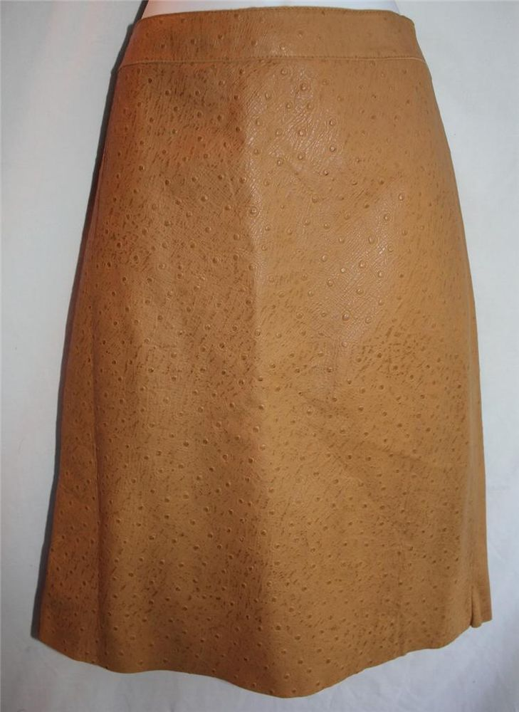 CLASSIQUES ENTIER 6 Tan Leather Skirt Ostrich Embossed Soft Supple Small Flaw #ClassiquesEntier #StraightPencil
