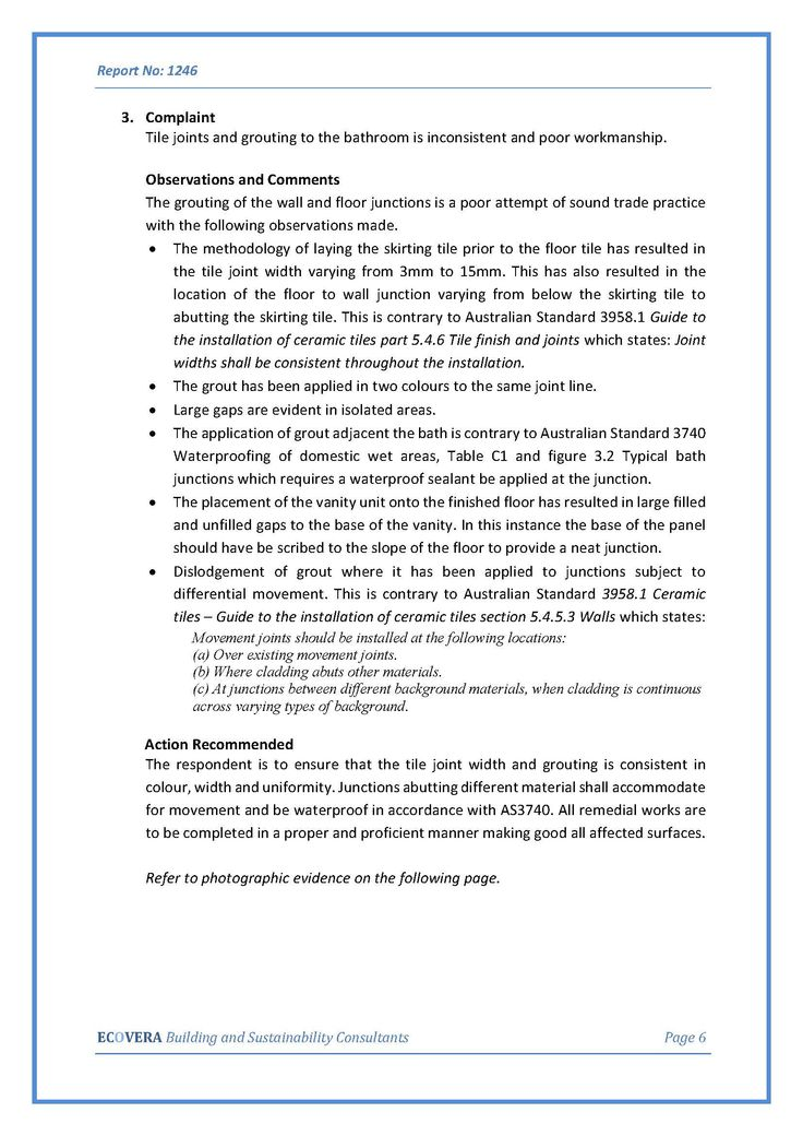 Findings from Contracted Independent Building report page 6