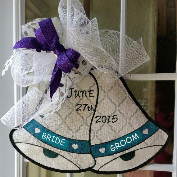 Wedding Door Decorations Ideas: Wedding Bells Burlap Door Hanger, Great For Bridal Showers