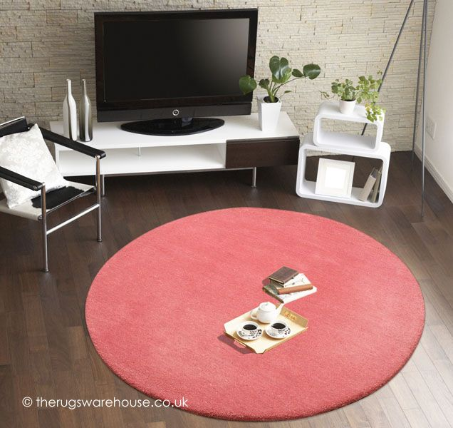 Comfort Pink Circle Rug A Thick 100 Wool Plain Round Http