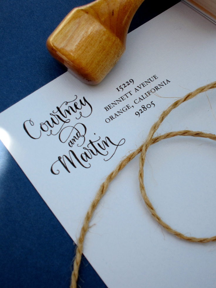 how to return address wedding envelopes%0A Custom Return Address Stamp  Handwritten Calligraphy Address Stamp  Side  by Side Calligraphy and Type  Vintage Reserve Style