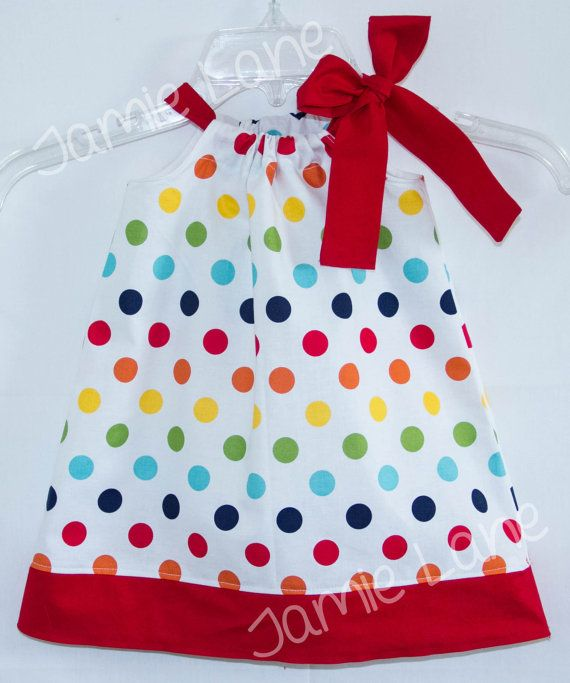 Pretty Rainbow Polka dot Pillowcase style dress by JamieLaneDesign