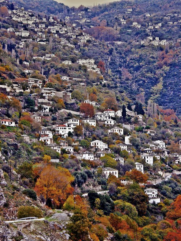 "This is my Greece | Makrinitsa, nicknamed ""balcony of Mount Pelion"", is a village and a former community in Magnesia, Thessaly. It is situated in the northwestern part of the Pelion mountains, 6 km northeast of Volos. One of the most characteristic traditional settlements, full of mansions and houses that look like hanging ornaments on the green mountain side."