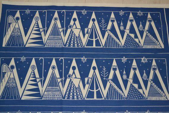 Swedish handprinted textile tablecloth design Maud Fredin Fredholm scandinavian 60s
