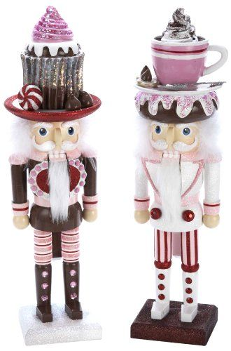 Kurt Adler 15″ Hollywood Chocolate Cupcake and Hot Chocolate Cup Hat Nutcracker Set of 2