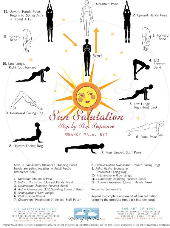 How to do the Sun Salutation Sequence (Surya Namaskara.) Each pose in the sequence is beautifully illustrated with correct alignment and placement. 8.5 x 11 Laminated! The shop also has an illustrated book with detailed instructions for each pose.