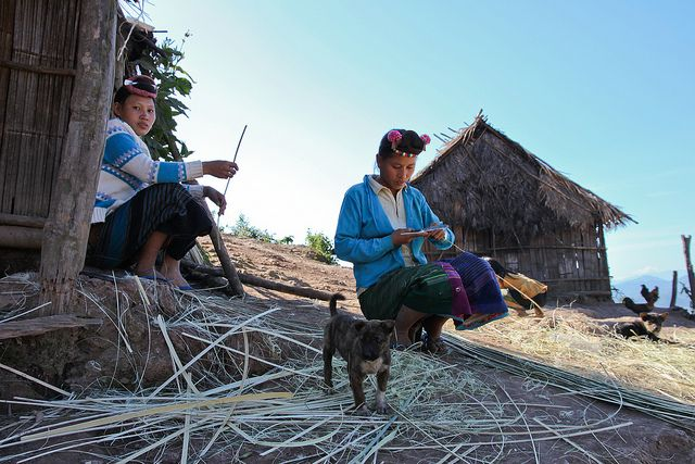 Lahu women working with bamboo in their village near Luang Namtha, Laos, December 2012 (by Freek Nijenhuis)