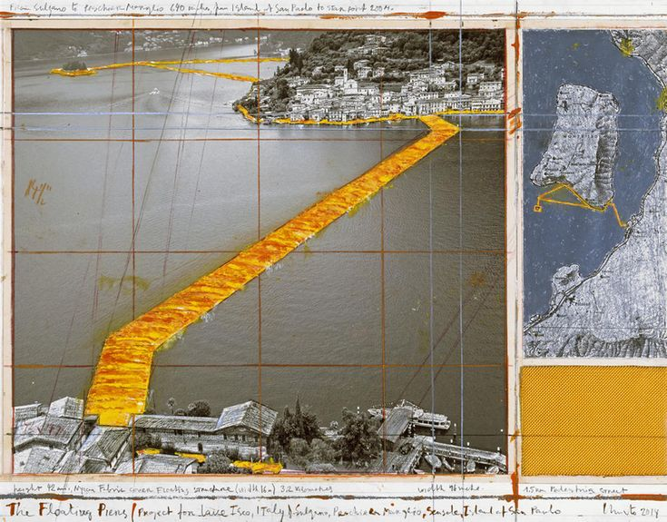 christo to connect italy's lake iseo with floating golden fabric piers