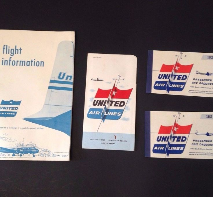 Vintage United Airlines 1956 Passenger Tickets Aviation Flight System US Map