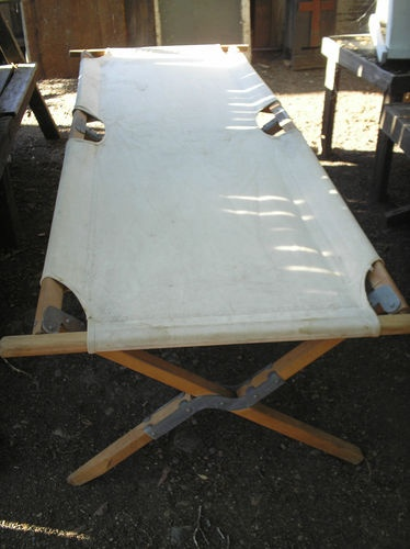 WW 2 U.S. Army type Folding Canvas/wood Cot.- nice cond ...