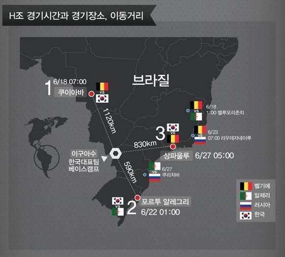 브라질 월드컵, 한국 H조 배정…16강진출팀은? [인포그래픽] | 비주얼다이브