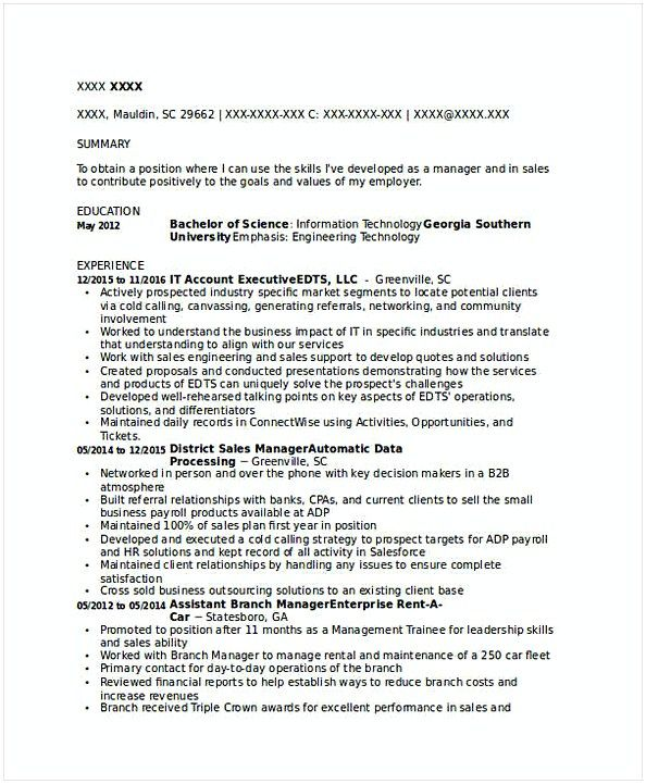 It Account Executive Resume  It Operations Manager Resume  Do