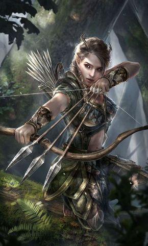 Forest Archer | Elf, female fighter | woman, girl | Three arrows | fantasy chara…