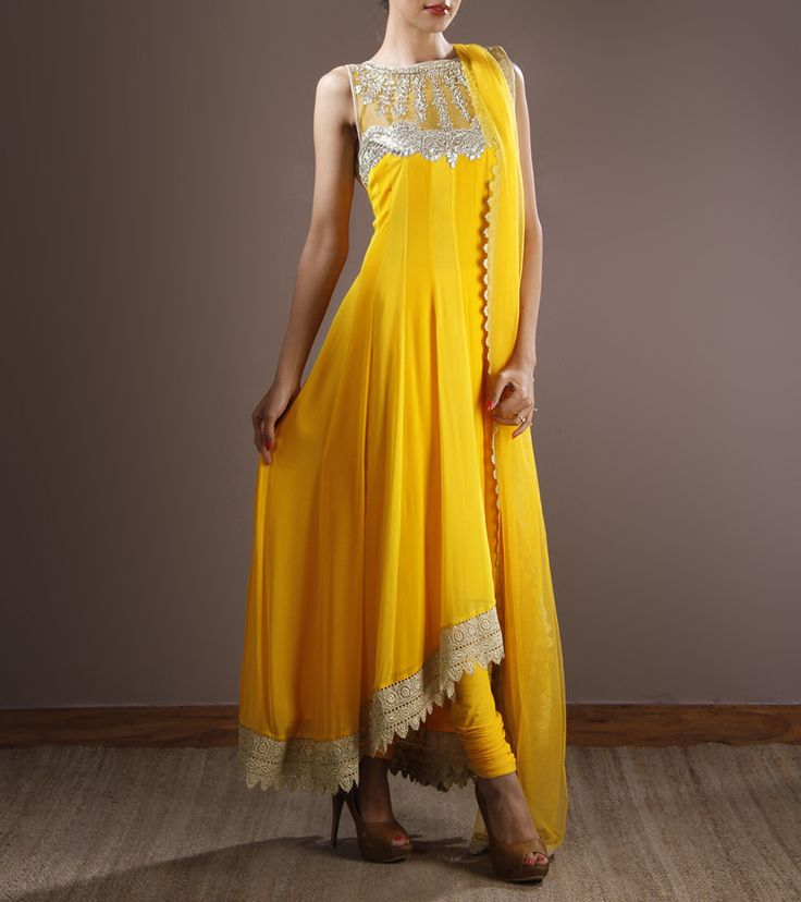 Yellow Georgette Anarkali Suit With Gota Patti Work