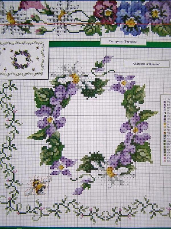 Cross stitch Ukrainian Embroidery Flower Patterns Tablecloth Pillow Napkin 7 uz