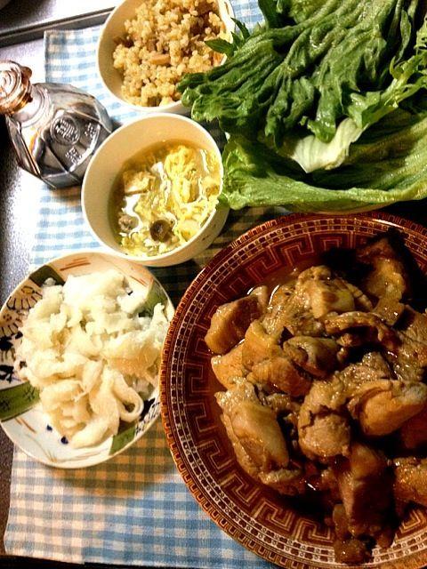 肉も魚も。 - 8件のもぐもぐ - 焼肉、かれいのエンガワ刺、野菜スープ by たびもか