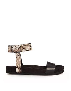 KG by Kurt Geiger Marissa Black Footbed Flat Sandals