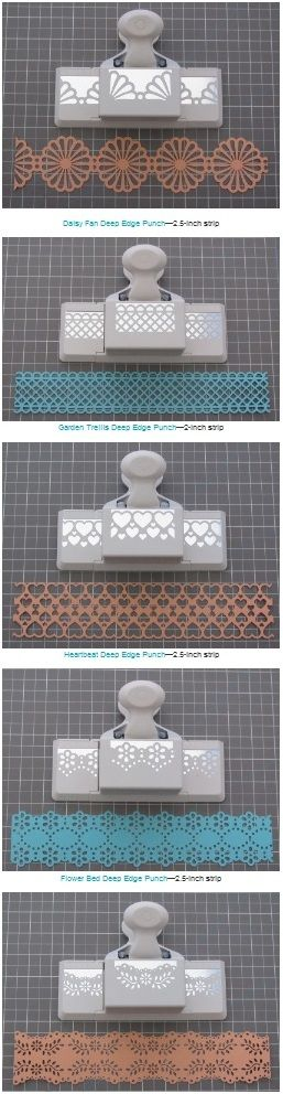 Handy list of measurements needed to create double edged strips with various Martha Stewart edge/border punches and a tutorial (11 different punches including the one in the slideshow tutorial) #paper #punches http://thecraftsdept.marthastewart.com/2011/02/punched-paper-chain-garland.html