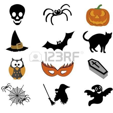astratte icone halloween su sfondo bianco photo