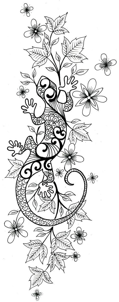 Flowers And Lizard Tattoo Sketch