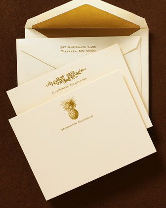 Ivory & Gold Correspondence Cards at Neiman Marcus.