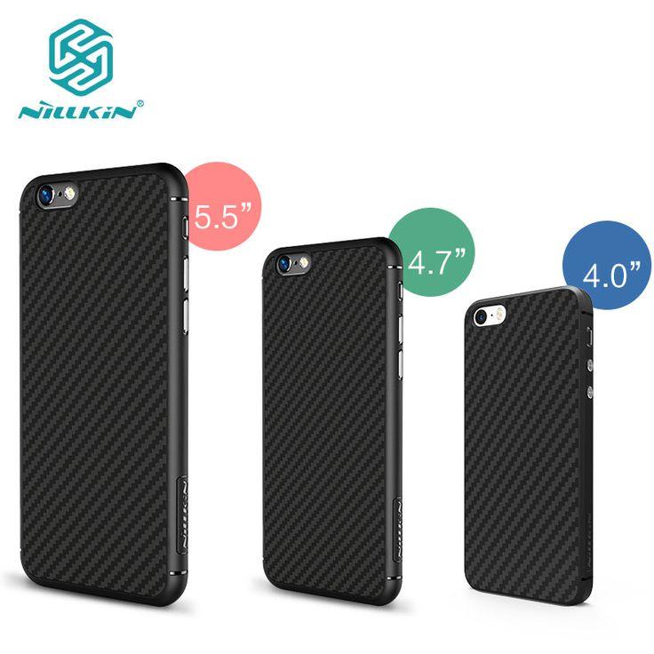 Nillkin synthetic fiber Cell phone case for apple phone SE 5S 6 6Plus 6s 6s Plus Hard Carbon Fiber PP Plastic Back Cover Case