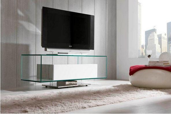 mesa de cristal tv con pata central mesa de tv moderna de diseo y giratoria home mesas de cristal pinterest salons