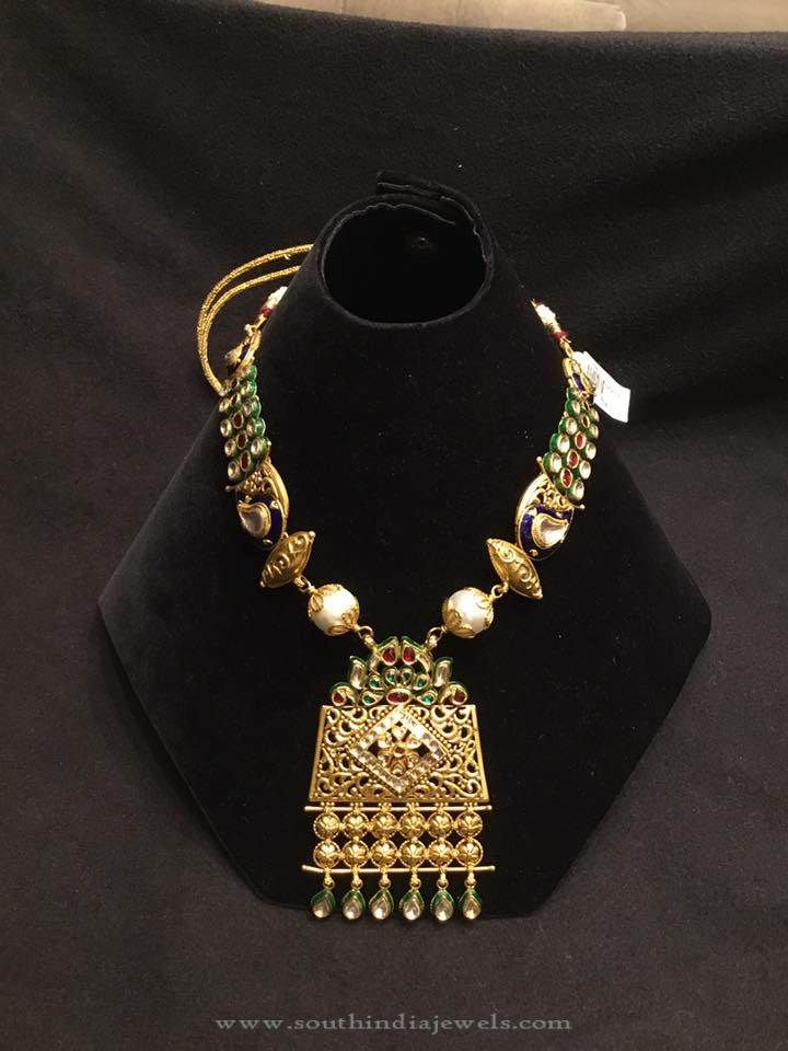 Gold Kundan Necklace Designs, Designer Gold Kundan Necklace Designs, North Indian Gold Necklace Designs.