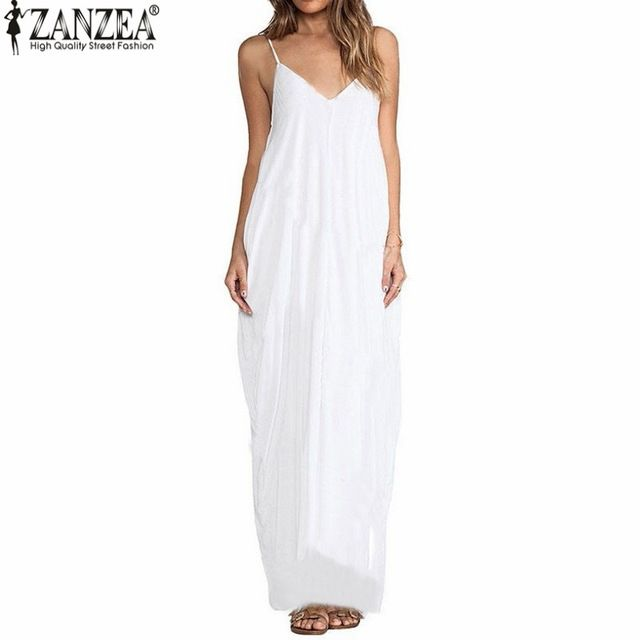 Zanzea 2016 Summer Vestidos женщины платье Boho без бретелек v-образным вырезом рукавов багги длиной макси платья сексуальный сарафан пляж Большой размер