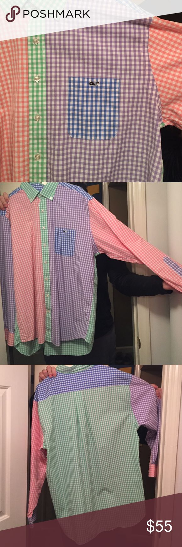 NEW Vineyard Vine Tucker button down shirt Brand new never been worn vineyard vines button down! Size XL! PERFECT Condition. Does not have tags on it, but it has never been worn. Boyfriend bought it and it's too big for him. Bought from vineyard vines store. Really cool spring colors in it! Price negotiable. Vineyard Vines Shirts Casual Button Down Shirts