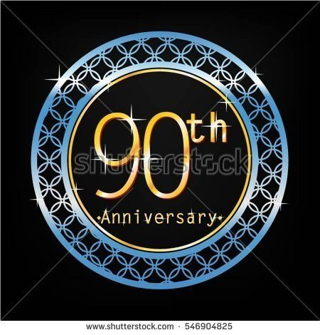 black background and blue circle 90th anniversary for business and various event