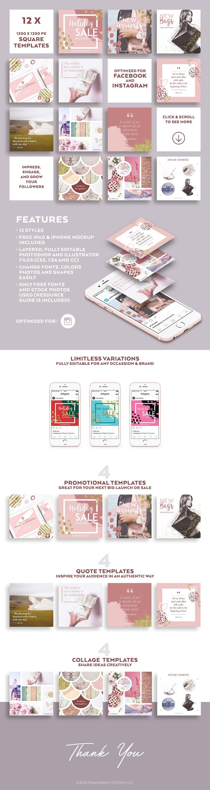 Dusty Pink INSTAGRAM BANNER Pack by Andimaginary Design Co. on @creativemarket