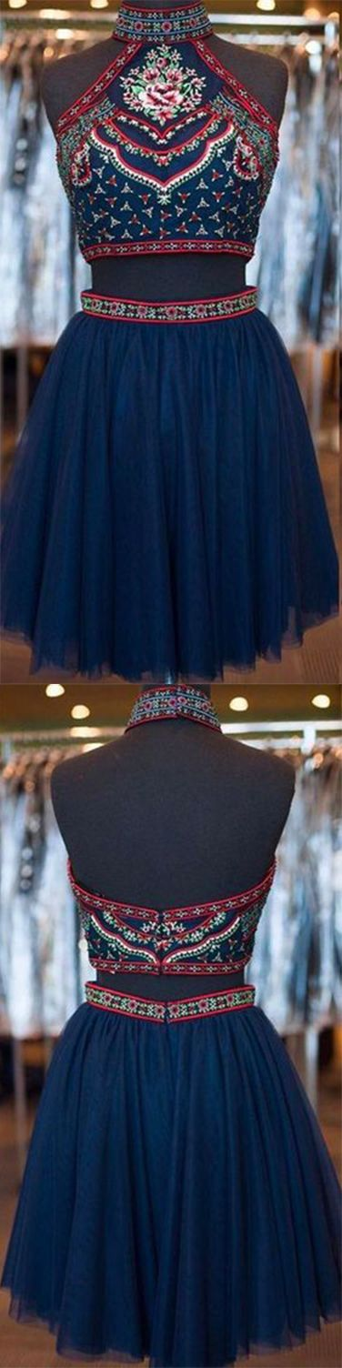 Homecoming Dress ,Short Homecoming Dresses,Navy Blue Homecoming Gowns,Sweet 16 Dress, Homecoming Dresses, 2 pieces Party Dress