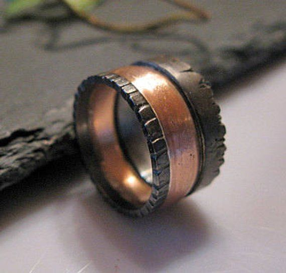 Rustic Mens Wedding Band 12mm Viking Wedding Ring Unique Mens Wedding Band Rose Gold Blac Viking Wedding Ring Mens Rustic Wedding Bands Mens Wedding Band Sizes