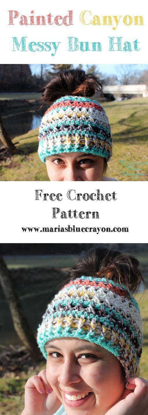 Messy Bun Hat   Free Crochet Pattern   I Love This Yarn - Painted Canyon