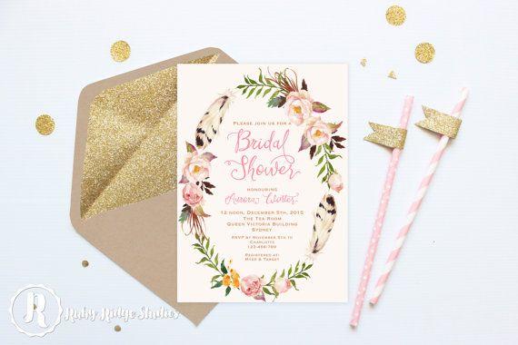 Bohemian Blush Pink and Gold Bridal Shower Invitation by RubyRidgeStudios