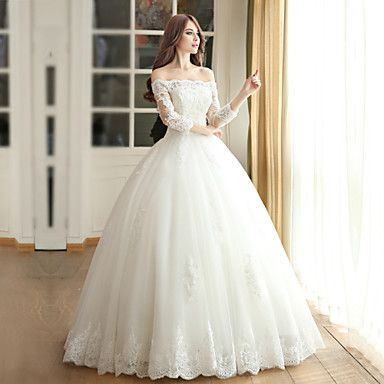 Ball+Gown+Wedding+Dress+-+Ivory+Floor-length+Off-the-shoulder+Satin+/+Tulle+–+USD+$+179.99