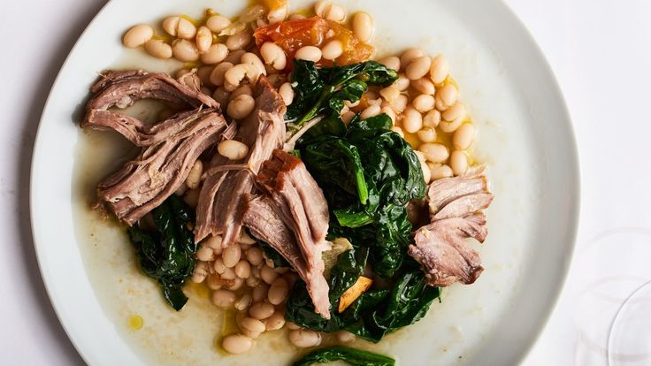 Slow-Cooked Pork Shoulder With Braised White Beans Pork and beans—a match made in heaven. Coco nano beans from Tuscany are perfect for this recipe because of their creamy texture, but they're only found in speciality food stores; you can use cannellini instead.