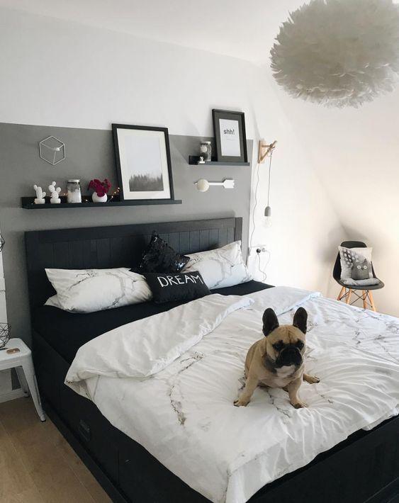 Schlafzimmer Wandgestaltung - graue Wand - schwarzes Bett ...
