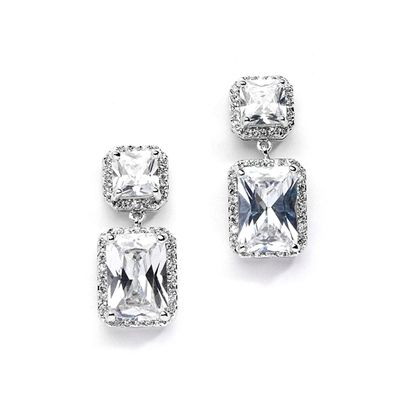 Princess and Emerald Cut CZ Earrings for Wedding, Prom
