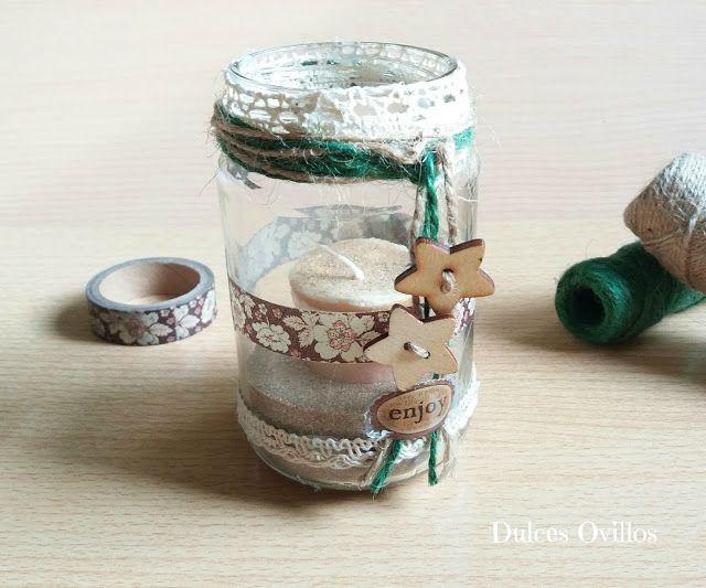 Dulces Ovillos. Vela en un tarro decorado. Candle jar DIY