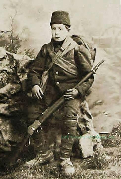 Portrait of Karahisarlı Nuri Çavuş, a very young (12 years old) Turkish soldier during the First Balkan War (1912).