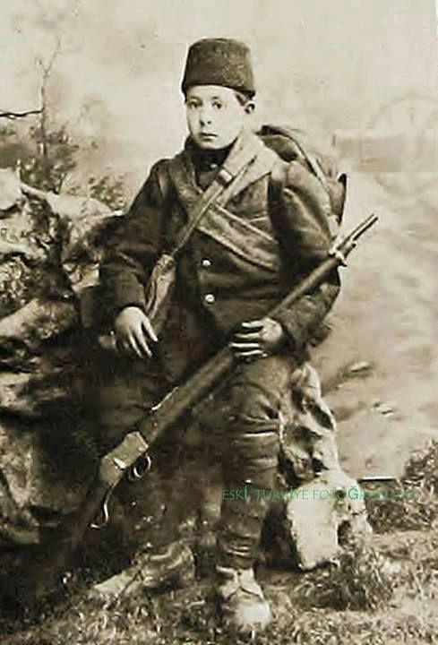 Portrait of Karahisarlı Nuri Çavuş, a very young (12 years old) Turkish soldier during the First Balkan War (1912).