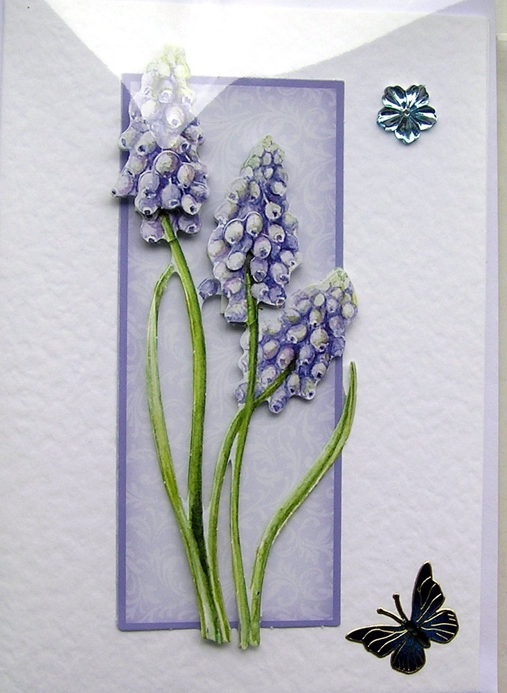 Blue Grape Hyacinth Hand-Crafted 3D Decoupage Card - Blank for any Occasion (1491). £1.50, via Etsy.