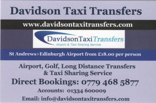 Taxi transfer Edinburgh airport to or from St Andrews and Dundee
