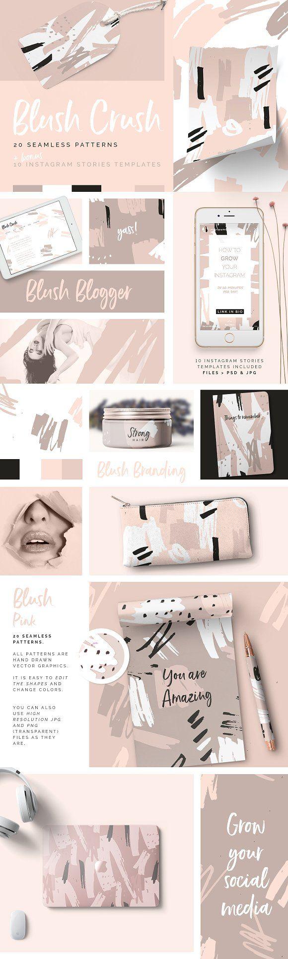 Blush Crush Patterns & Templates by Youandigraphics on @creativemarket