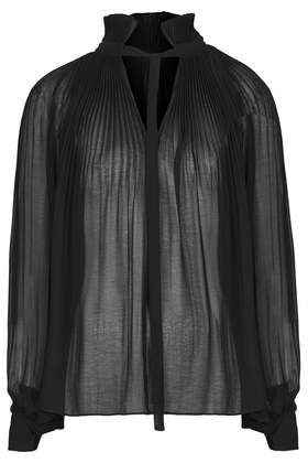 HIGH NECK PLEATED PUSSYBOW BLOUSE £45 Topshop