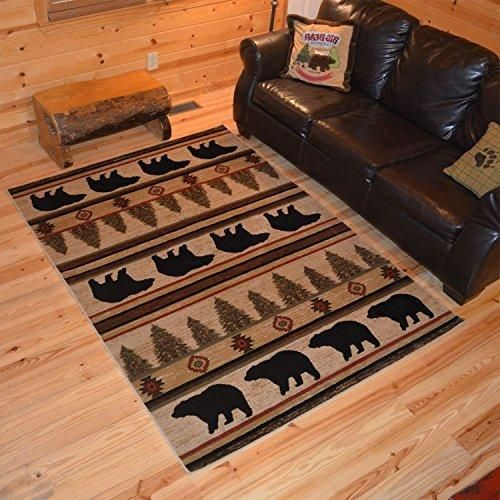 22x33ft Ivory Black Brown Colored Nature Cabin Area Rug Indoor Rustic Southwestern Bear Bathroom Entryway Kitchen Flooring Rectangle Carpet Latex Containing Polypropylene Synthetic Mat