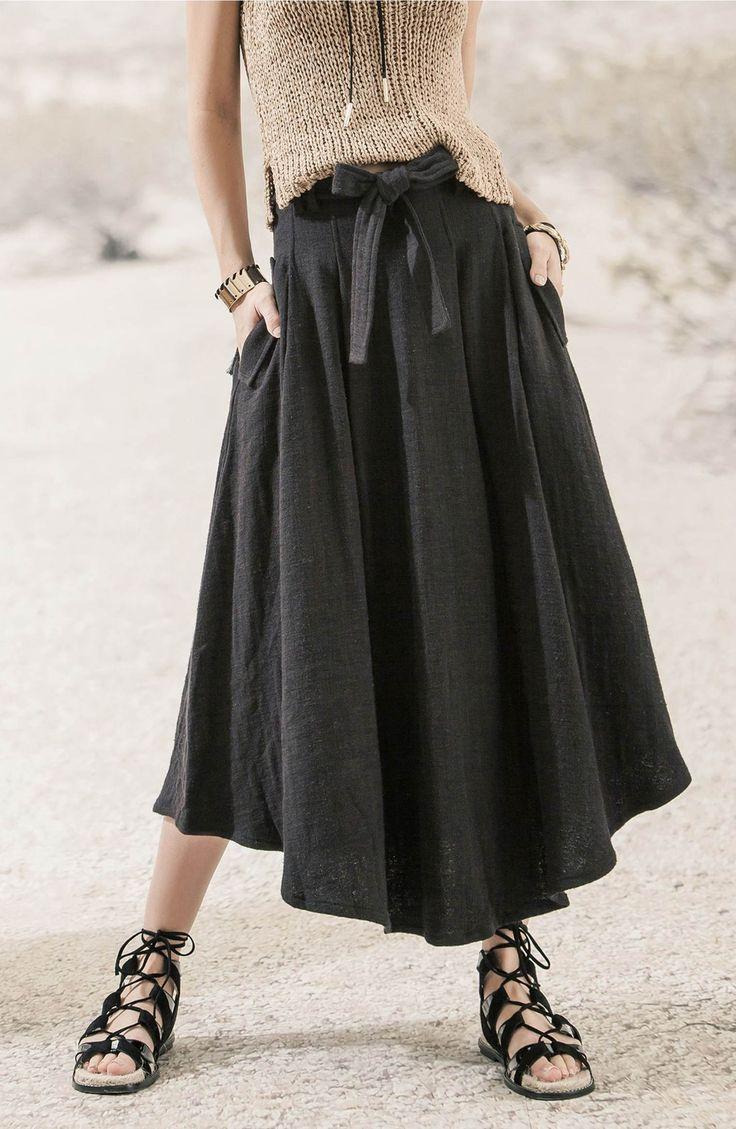 Main Image - MOON RIVER Belted Linen Skirt