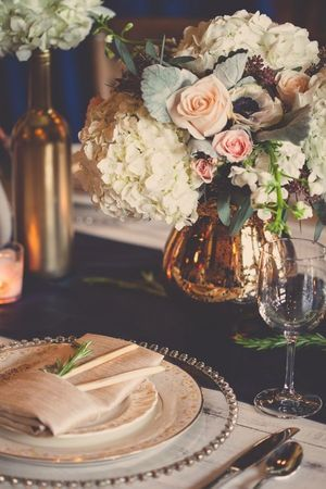 Jewel tones add a beautiful modern vibe to any rustic wedding. Mix and match eco-friendly elements and metallic hues for a truly stunning table setting.   Ten Productions